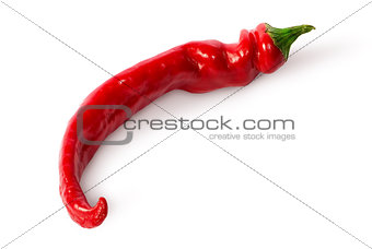 Single curved chili peppers on the side