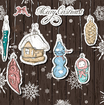 Poster with vintage Christmas decorations