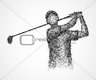 abstract, golfer, athlete