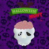 Skull with brains on happy Halloween card