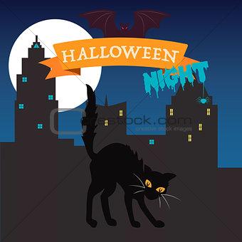 Black cat on happy Halloween card