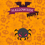 Big scary spider on happy Halloween card