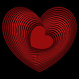 Red heart into the many heart shapes over black