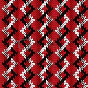 Knitting zigzag seamless pattern in red and white colors