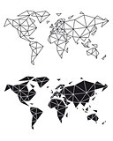 Geometric world map, vector