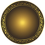 Gold and black vintage round pattern