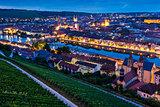 Panorama of  Wurzburg at night