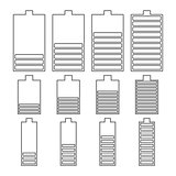 Set of linear battery icons, vector illustration.