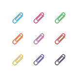 Set of multicolored paper clips, vector illustration.