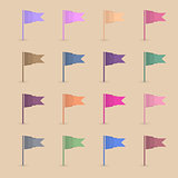 Set paper flags, vector illustration.