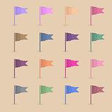Set paper flags, vector illustration.