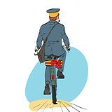 Retro postman on bike rides with sending gift