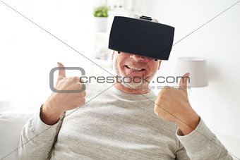 old man in virtual reality headset or glasses