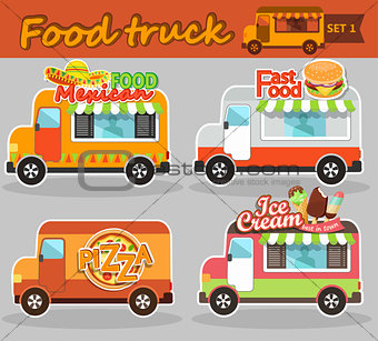 Food truck vector illustrations.
