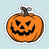 Sticker label evil Halloween pumpkin