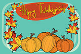 Happy thanksgiving autumn pumpkin greeting background