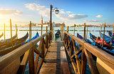 Gondolas and pier