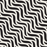 Vector Seamless Black and White Hand Drawn Diagonal Wavy Shapes Pattern