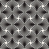Vector Seamless Black and White Arc Lines Grid Pattern