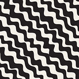 Vector Seamless Black and White Hand Drawn Diagonal Zigzag Lines Pattern