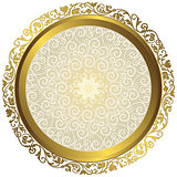 Gold and white vintage round isolated frame
