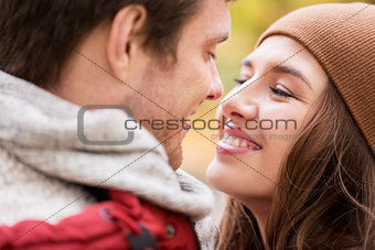 close up of happy young couple kissing outdoors