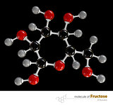 Illustration of Fructose Molecule isolated black background