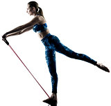 woman fitness elastic  excercises silhouette