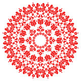 Kalocsai red floral embroidery - Hungarian round folk art pattern