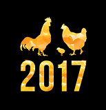 Happy 2017 Chinese New Year card. Vector poster of a golden rooster family isolated on black background. Design template for prints, covers, posters, gift cards.