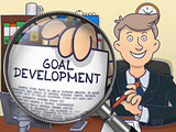 Goal Development through Magnifying Glass. Doodle Design.