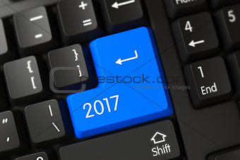 Blue 2017 Button on Keyboard. 3D.