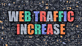 Web Traffic Increase in Multicolor. Doodle Design.
