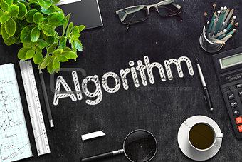 Black Chalkboard with Algorithm Concept. 3D Rendering.