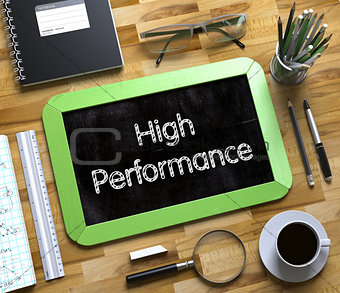 Small Chalkboard with High Performance Concept. 3D.