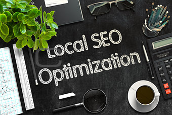 Black Chalkboard with Local SEO Optimization. 3D Rendering.