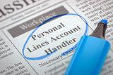 Job Opening Personal Lines Account Handler. 3D.