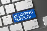 Blogging Services - Blue Button. 3D.