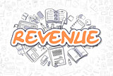 Revenue - Doodle Orange Inscription. Business Concept.