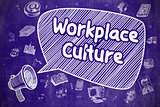 Workplace Culture - Cartoon Illustration on Blue Chalkboard.