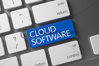 Blue Cloud Software Button on Keyboard. 3D.
