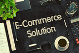 E-Commerce Solution on Black Chalkboard. 3D Rendering.