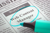 Web Content Manager Hiring Now. 3D.