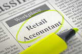 Job Opening Retail Accountant. 3D.