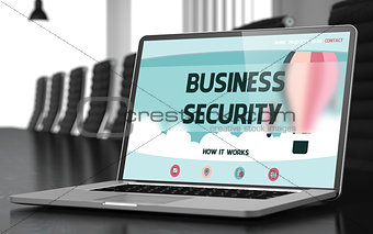Business Security on Laptop in Meeting Room. 3D.