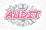 Audit - Doodle Magenta Inscription. Business Concept.