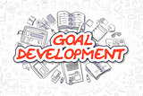 Goal Development - Doodle Red Word. Business Concept.