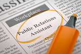 Now Hiring Public Relations Assistant. 3D.