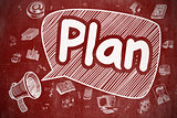 Plan - Cartoon Illustration on Red Chalkboard.