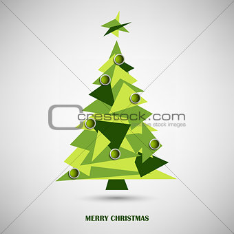 Christmas card with green triangle abstract tree
